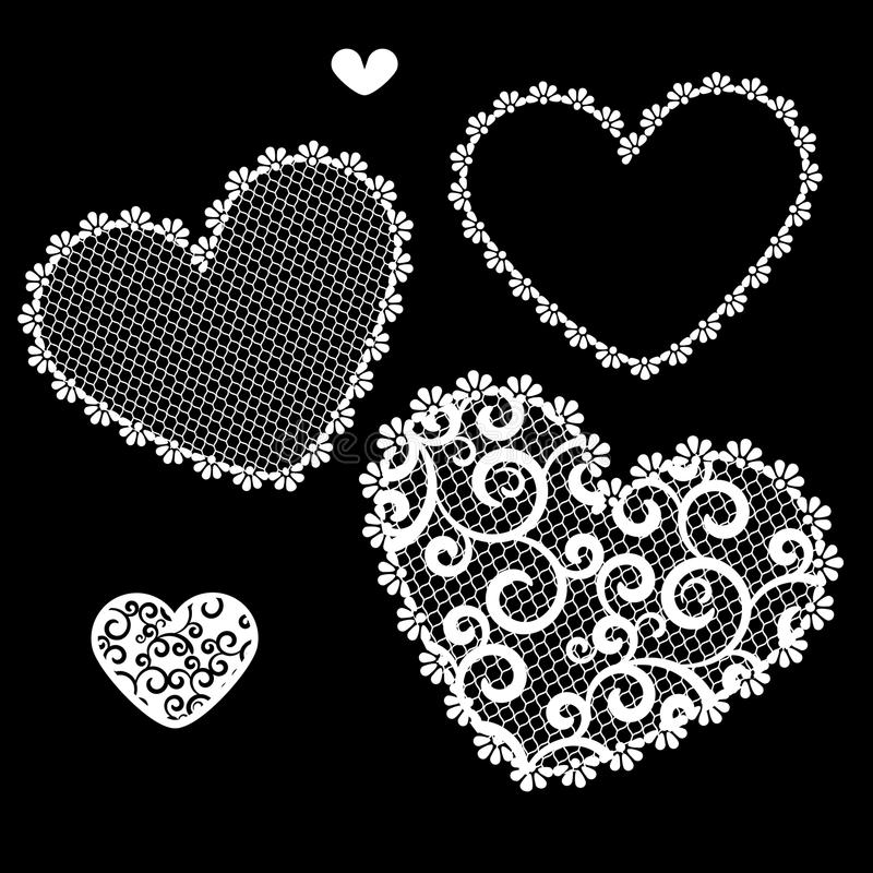 Vector illustration of lacy hearts vector illustration