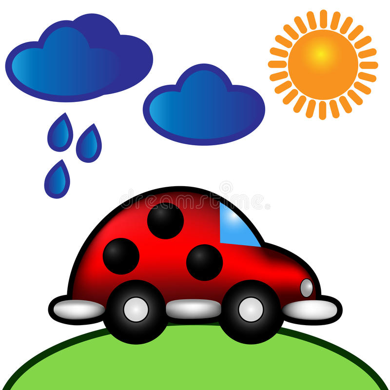 Free Vector Illustration Ladybug Car Under Clouds & Sun Stock Images - 39260964
