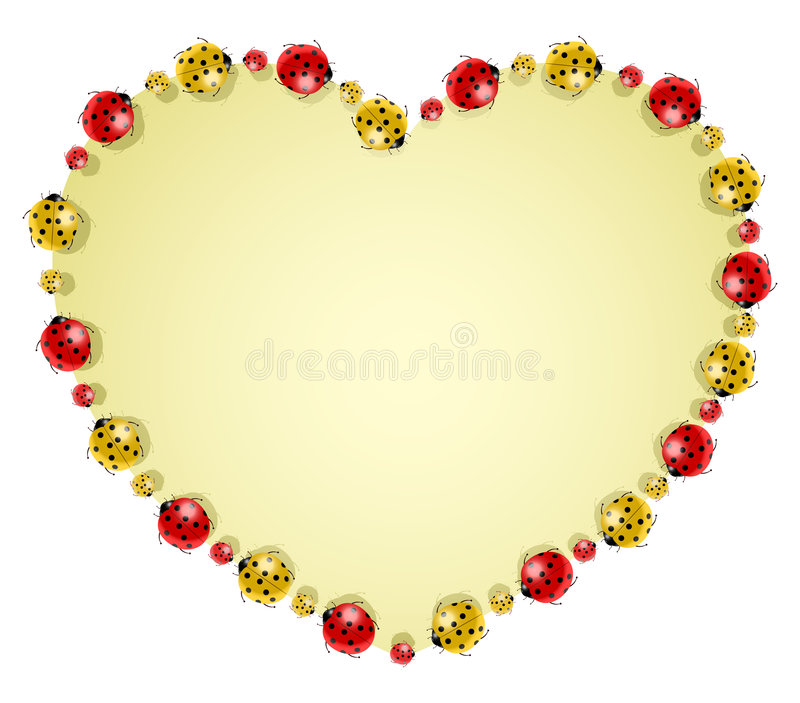 Vector illustration of ladybugs forming heart. Vector illustration of colored ladybugs forming heart stock illustration