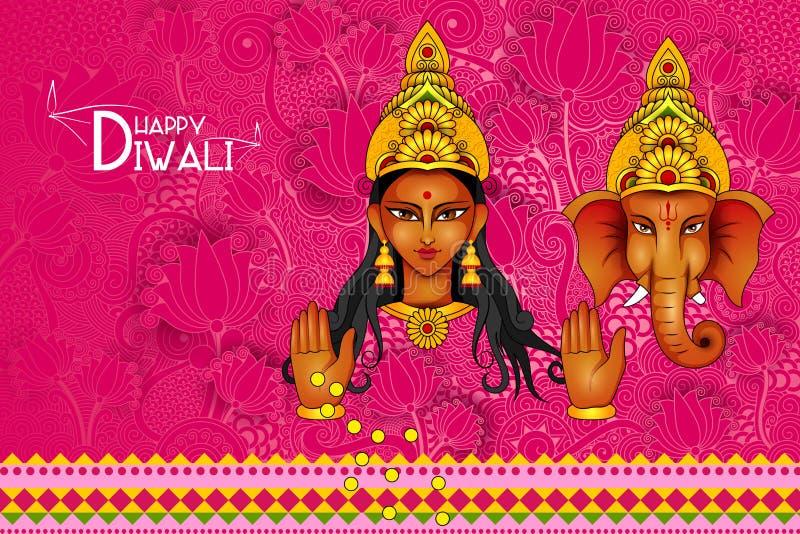 Vector illustration of Lakshmi and Ganesha for Happy Diwali vector illustration