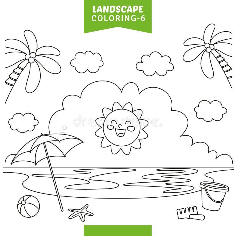 Vector Illustration Of Landscape Coloring Page. Eps 10 stock illustration