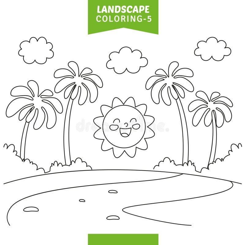 Vector Illustration Of Landscape Coloring Page. Eps 10 royalty free illustration