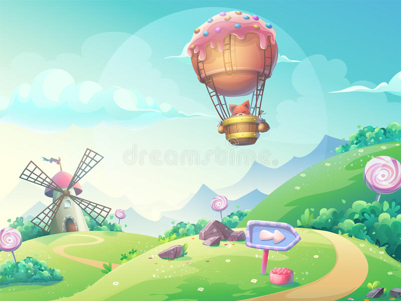 Vector illustration landscape with fox in blimp. Vector illustration of a landscape with marmalade candy mill and fox in blimp. For print, create videos or web royalty free illustration