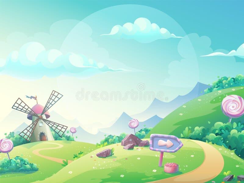 Vector illustration landscape with marmalade candy mill. Vector illustration of a landscape with marmalade candy mill. For print, create videos or web graphic stock illustration