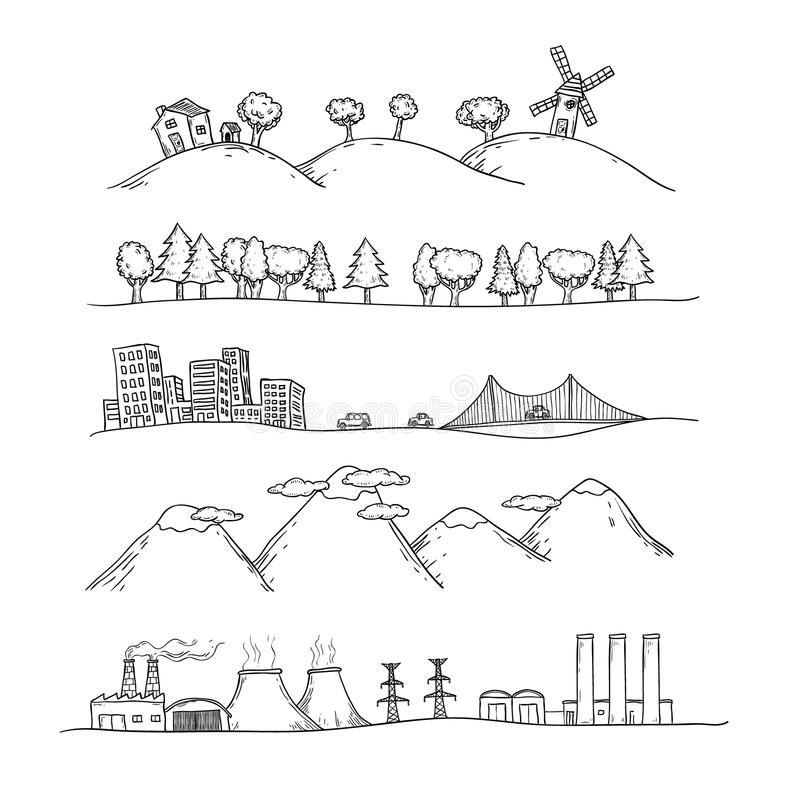 Vector illustration of landscapes. Doodles hand-drawn style. royalty free illustration