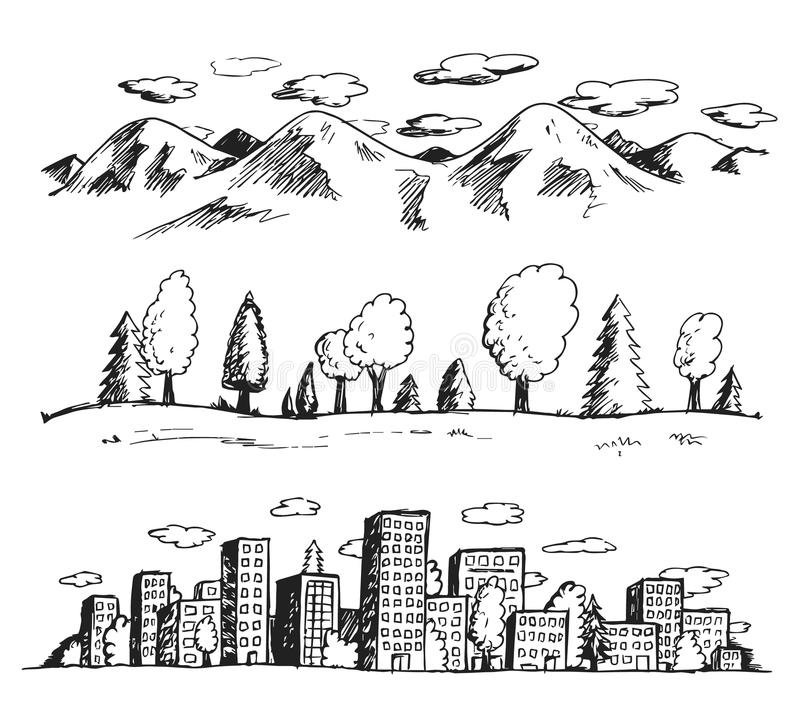 Vector illustration of landscapes hand drawn doodles style stock illustration