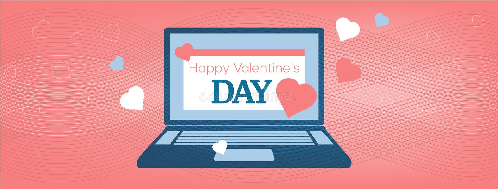 Vector illustration Laptop with Happy Valentine`s Day Card on the coral background, cover of the site. Vector illustration Laptop with Happy Valentine`s Day Card vector illustration
