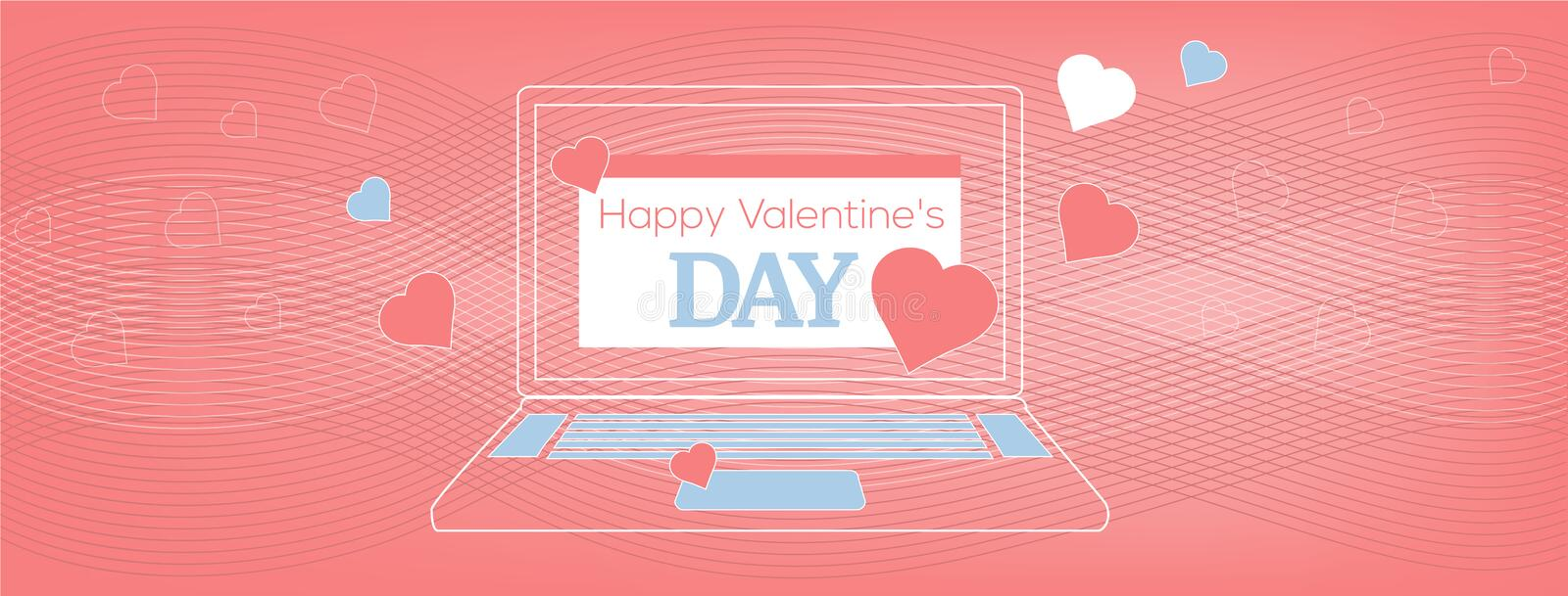 Vector illustration Laptop with Happy Valentine`s Day Card on the coral wavy, geometric background. Flyer or invitation template, cover of the site, page stock illustration