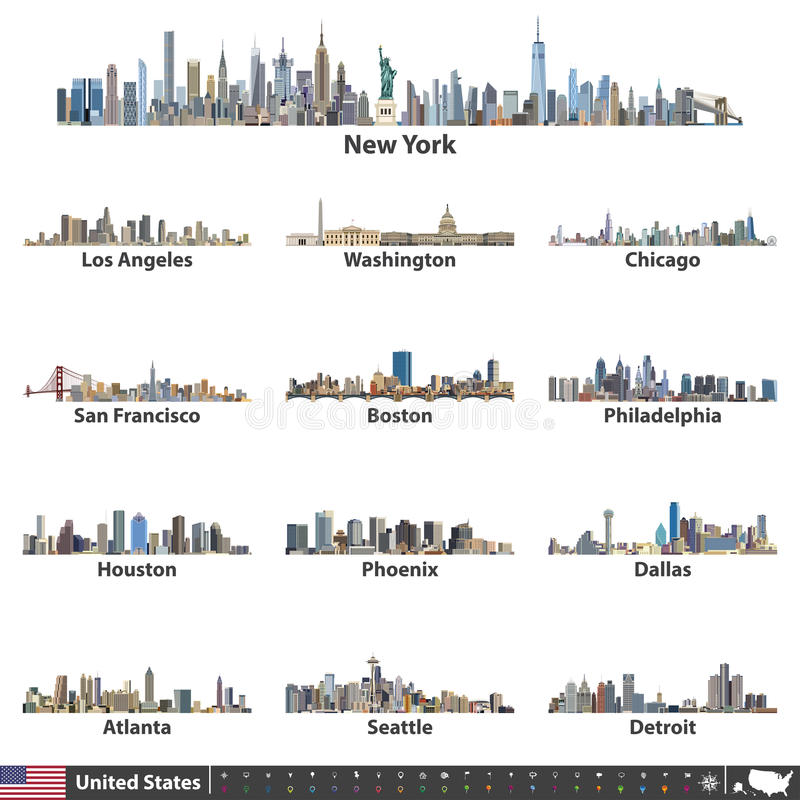 Vector illustration of largest United States city skylines. Navigation, location and travel icons; flag and map of United States. Largest United States city vector illustration