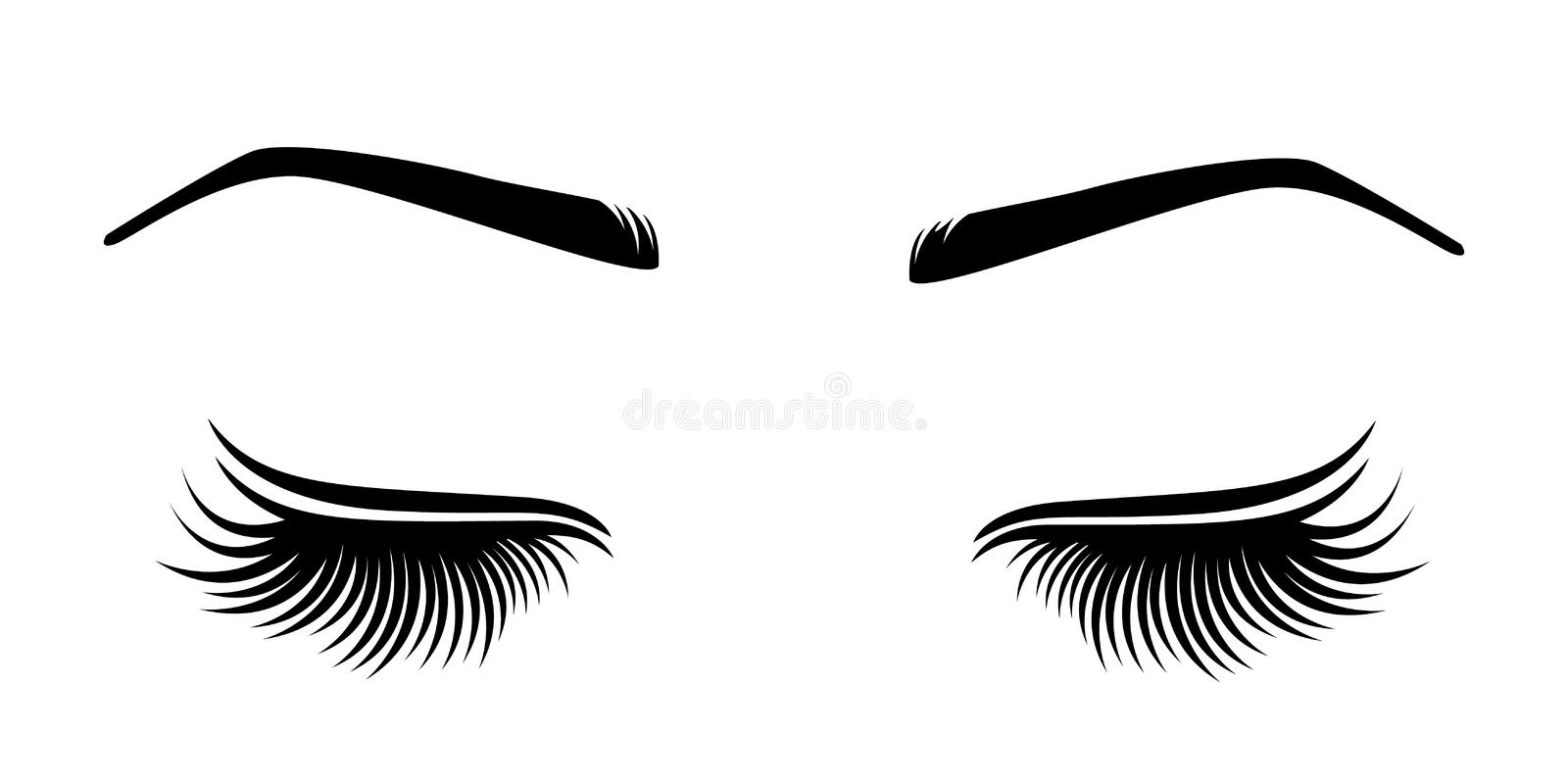 Vector illustration of lashes and brow. royalty free illustration