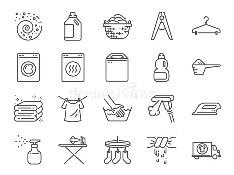 Laundry icon set. Included the icons as detergent, washing machine, fresh, clean, iron and more. stock illustration