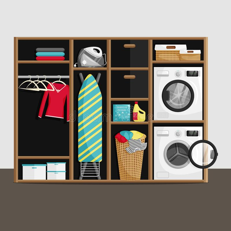 Vector Illustration of Laundry Room in Flat Style royalty free illustration