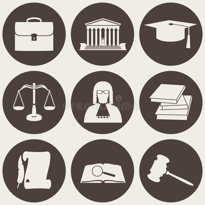 Vector illustration of law icons circle collection in flat style. Vector illustration of law icons circle set in flat style stock illustration
