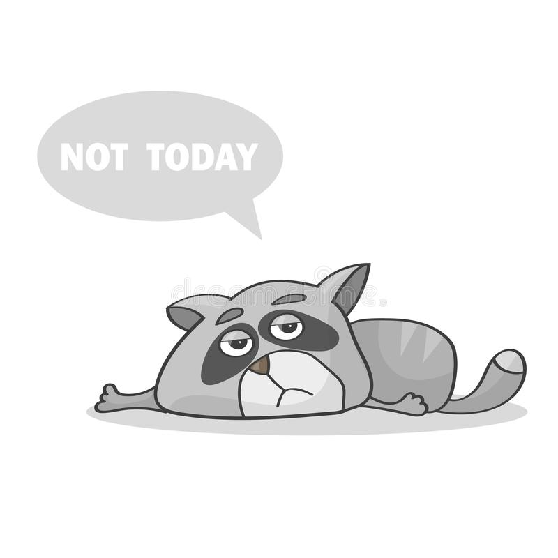 Vector illustration. Lazy cat laying on the floor and says not today - Tired cat. Vector illustration. Lazy cat laying on the floor and says not today - Tired stock illustration