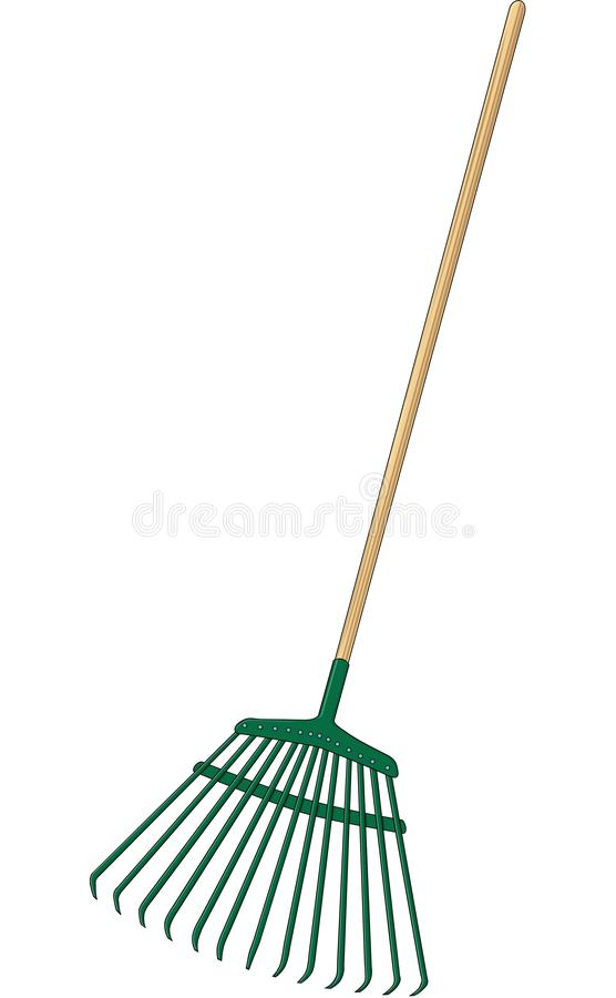 Leaf Rake Vector Illustration. A vector illustration of a leaf and lawn rake stock illustration