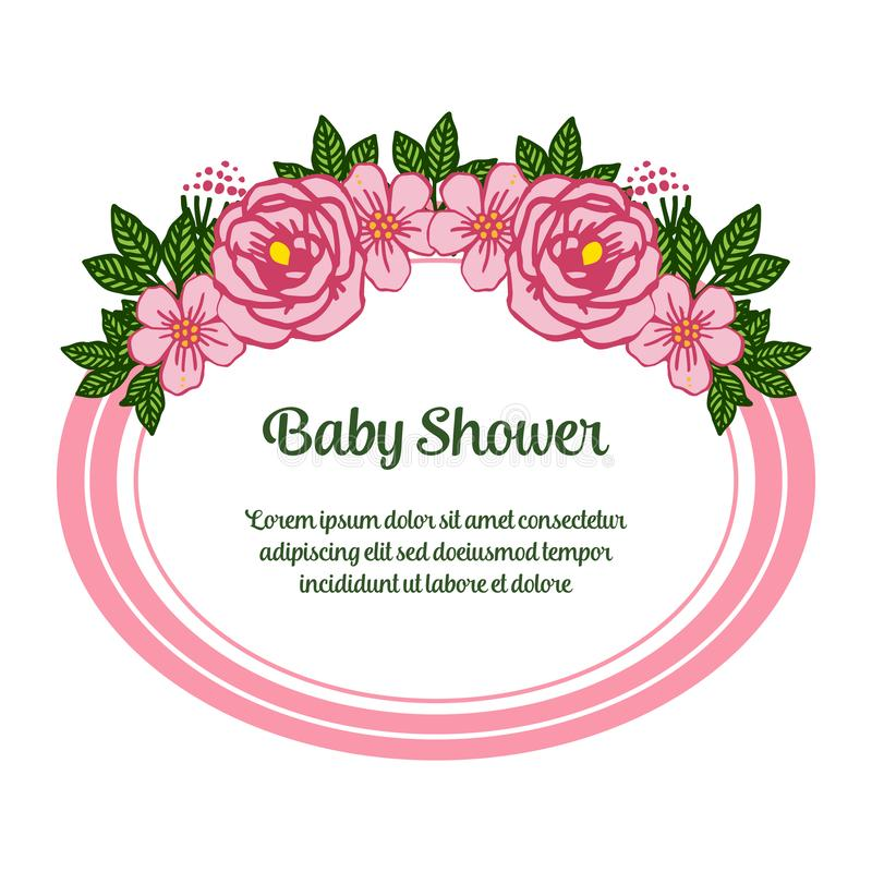 Vector illustration letter baby shower with crowd of pink rose flower frame. Hand drawn royalty free illustration
