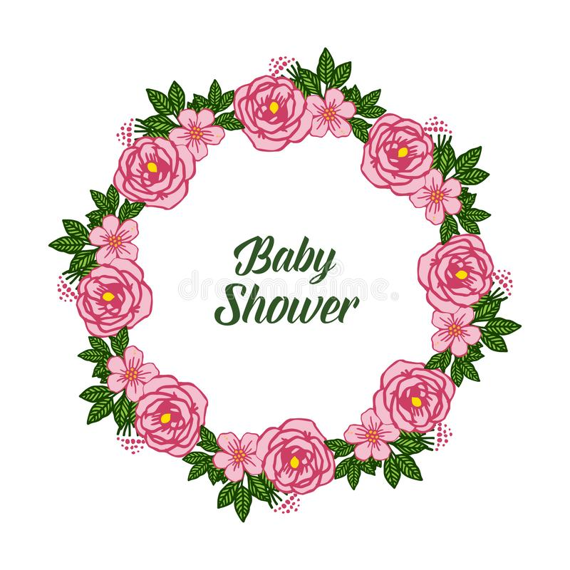 Vector illustration letter baby shower with crowd of pink rose flower frame. Hand drawn vector illustration