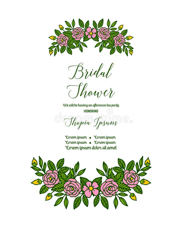 Vector illustration letter bridal shower for ornate of pink flower frame. Hand drawn stock illustration