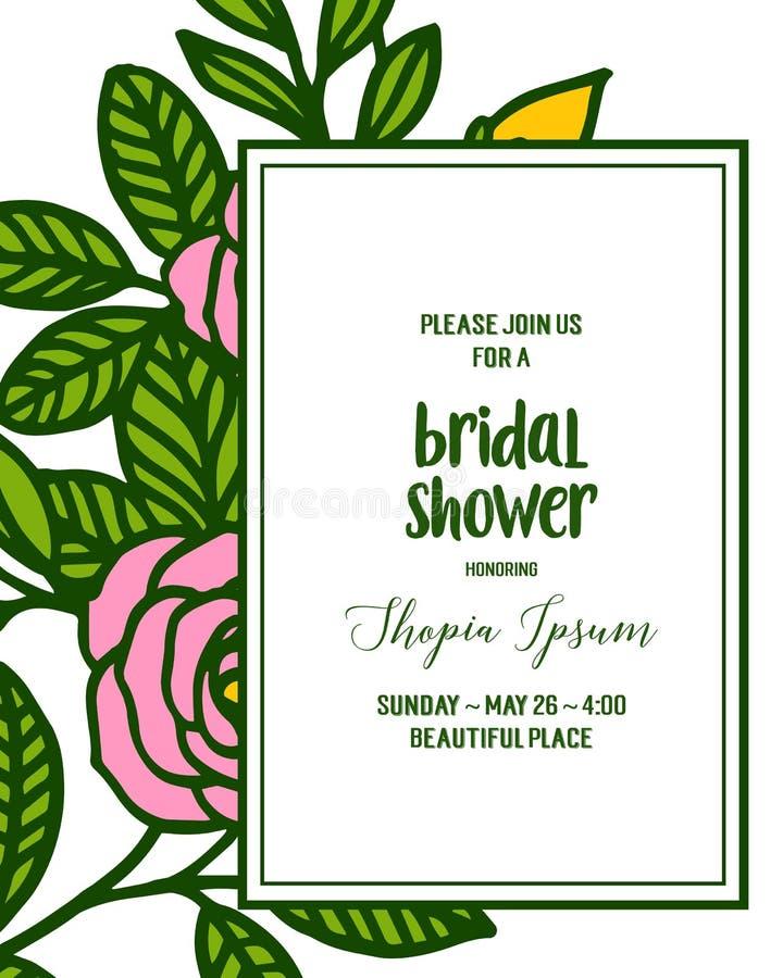 Vector illustration letter bridal shower for rose flower frame. Hand drawn vector illustration