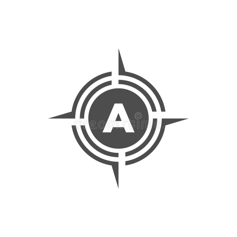 Vector illustration letter a with compass logo icon black color. Element, concept, company, modern, creative, abstract, corporate, identity, idea, alphabet vector illustration