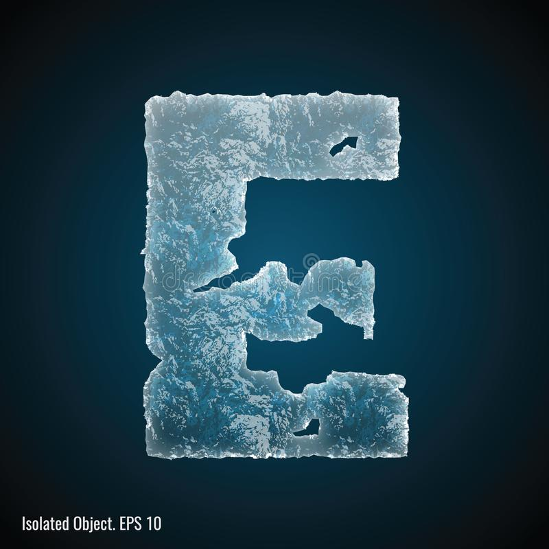 Ice Font of Letter E. Vector illustration of letter E on dark background, isolated object stock illustration