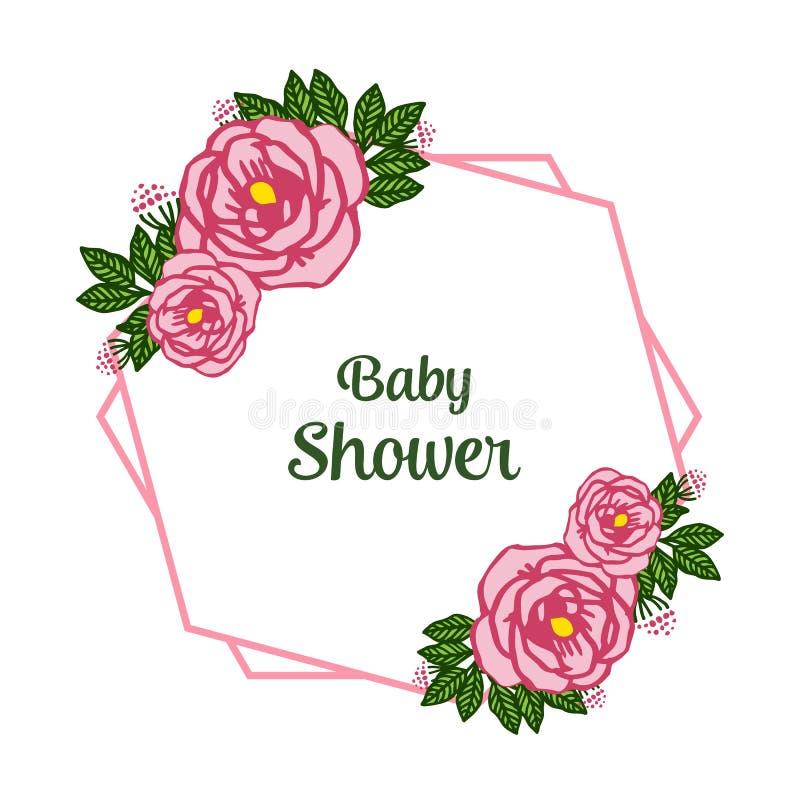 Vector illustration lettering baby shower with artwork pink rose wreath frame. Hand drawn stock illustration