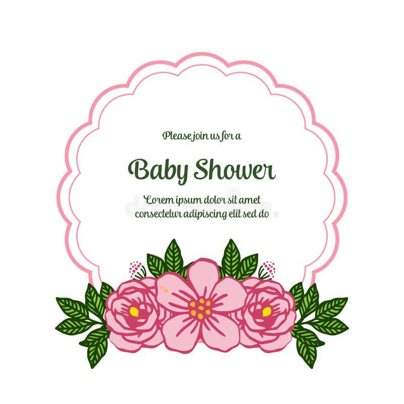 Vector illustration lettering baby shower with artwork pink rose wreath frame. Hand drawn vector illustration
