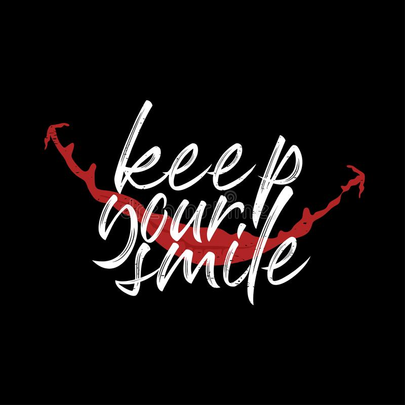Vector illustration Lettering and Calligraphy. Motivation quote of Keep your smile. Hand-drawing texture typographic on black stock illustration