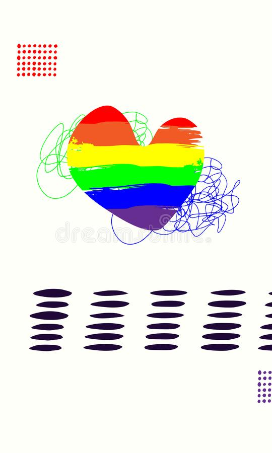 Vector illustration with lgbt flag in heart shape and copy space Design template for banner, brochure, website, card, poster 皇族释放例证