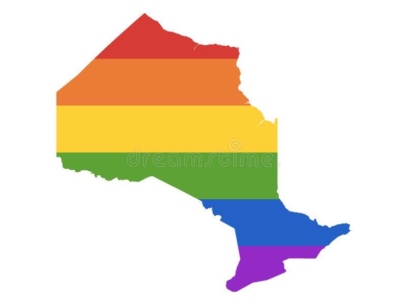 LGBT Rainbow Map of Ontario. Vector illustration of the LGBT Rainbow Map of Ontario stock illustration