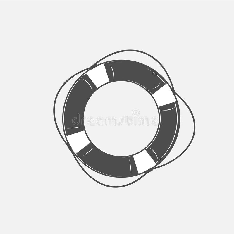 Download Vector Illustration Of The Lifebuoy In Black And White Stock Vector - Image: 83713136