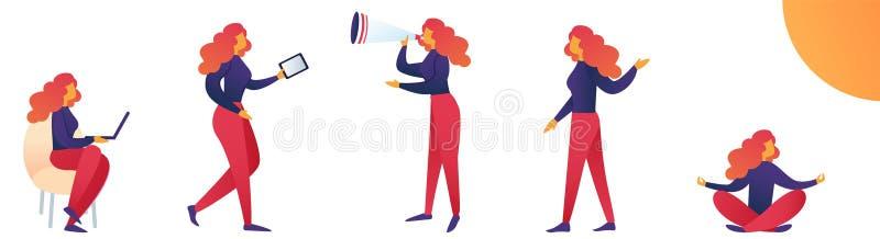 Vector Illustration Lifestyle and Stress Woman. stock illustration