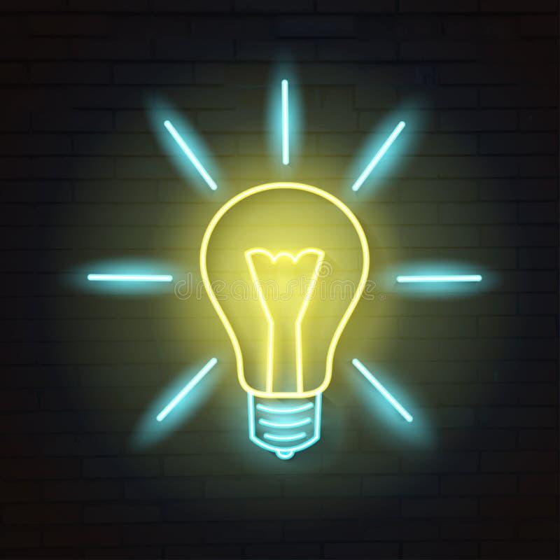 Light bulb neon concept stock vector. Illustration of ...