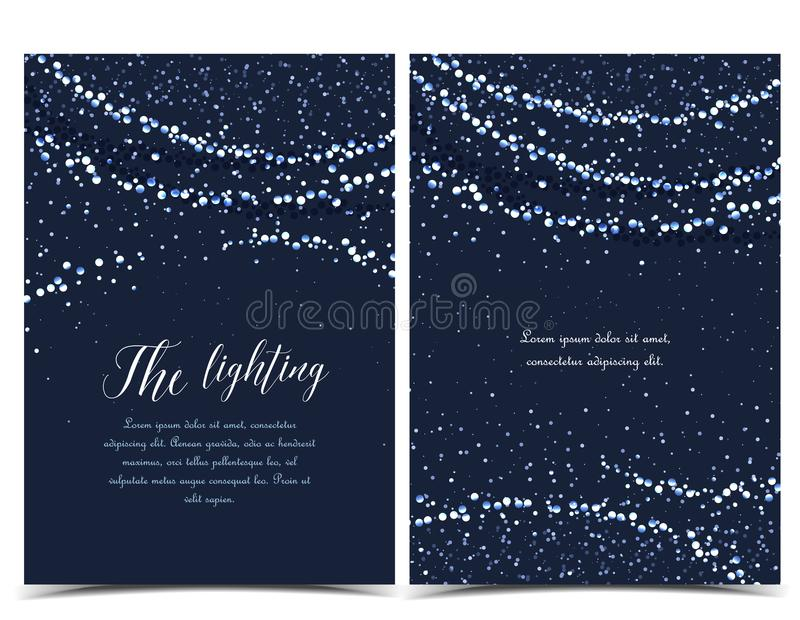 Vector string lights. Vector illustration of light cords on a dark background. String Lights. Cheerful party and celebration vector illustration
