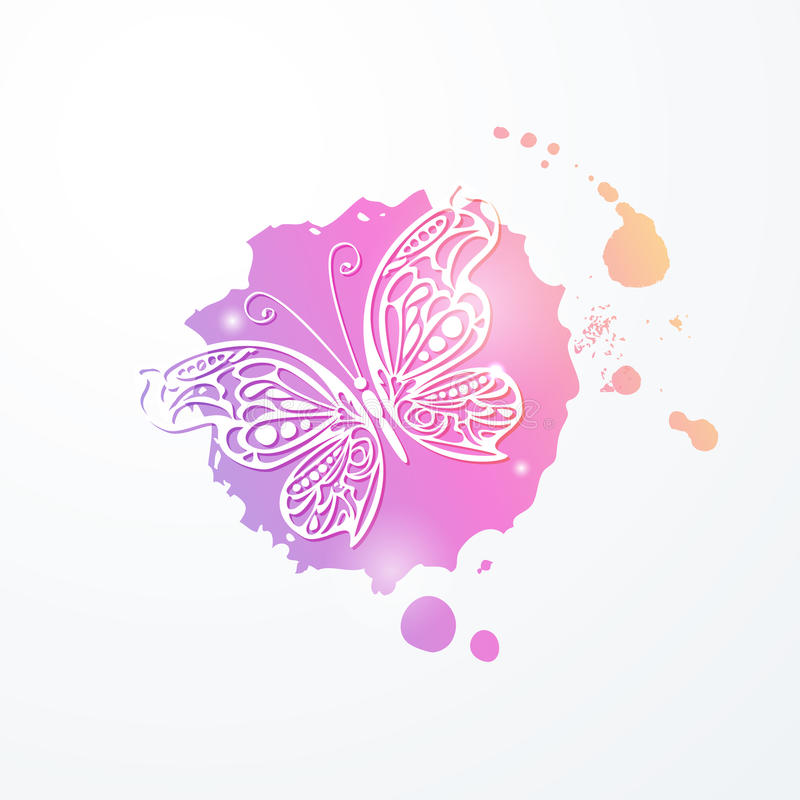 Vector illustration of light lacy abstract butterfly on pink rainbow watercolor stain. royalty free illustration