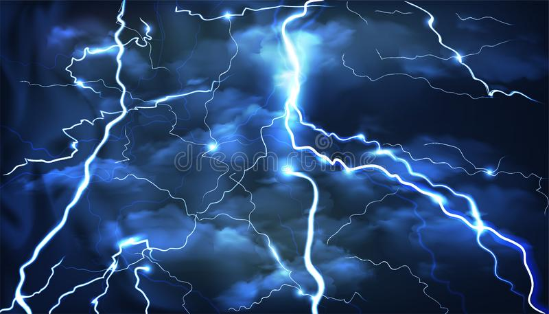 Lightning on a blue background with flashes. Vector illustration of lightning on a blue background with flashes stock images