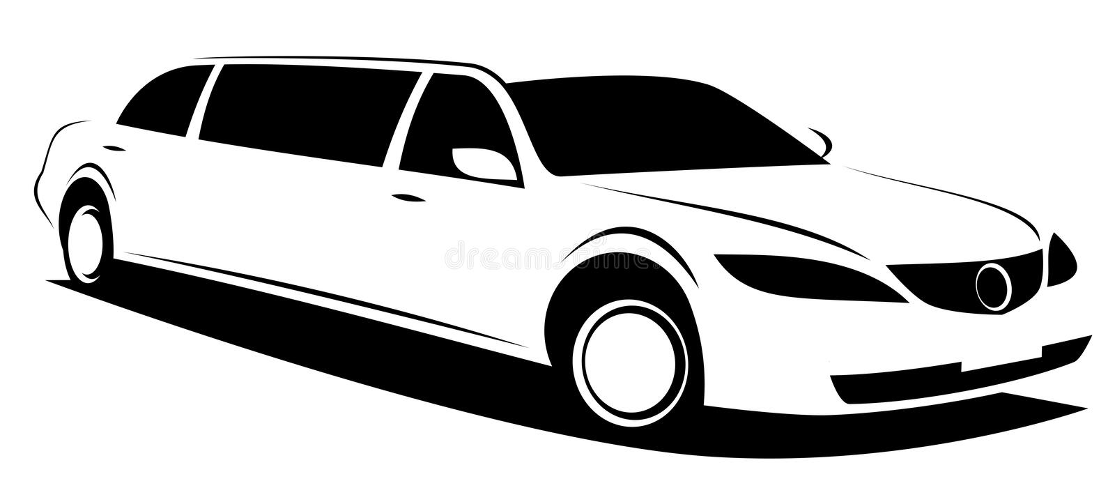 Vector illustration of a limousine car used for VIP, celebrities or wedding royalty free stock photography