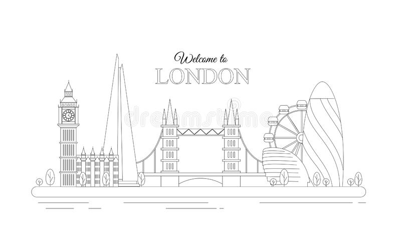 Vector illustration of line design London concept. Modern London city with most famous buildings. Flat line graphic on royalty free illustration