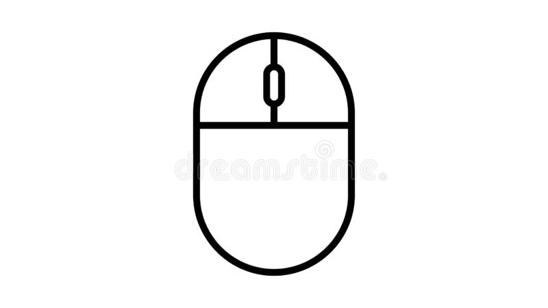 Vector illustration linear black and white flat icon of digital wireless computer mouse with buttons and wheel on a white. Background. Concept: computer digital stock illustration