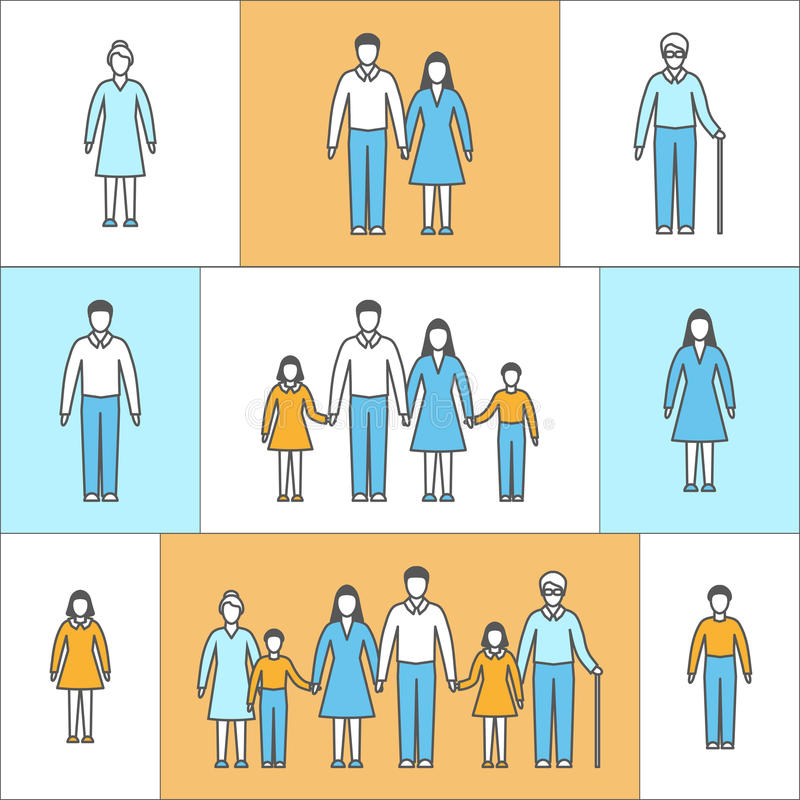 Vector illustration in linear style. Flat icons with people. royalty free illustration