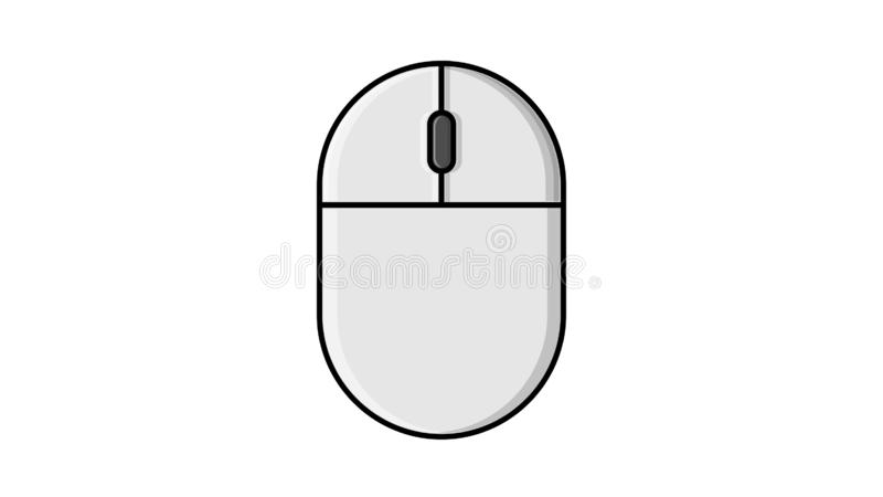Vector illustration of a linear white flat icon of a digital wireless computer mouse with buttons and wheel on a white background. With a black stroke. Concept royalty free illustration