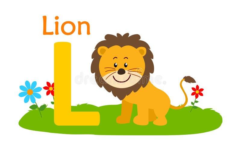 Animal alphabet L.L for lion vector illustration
