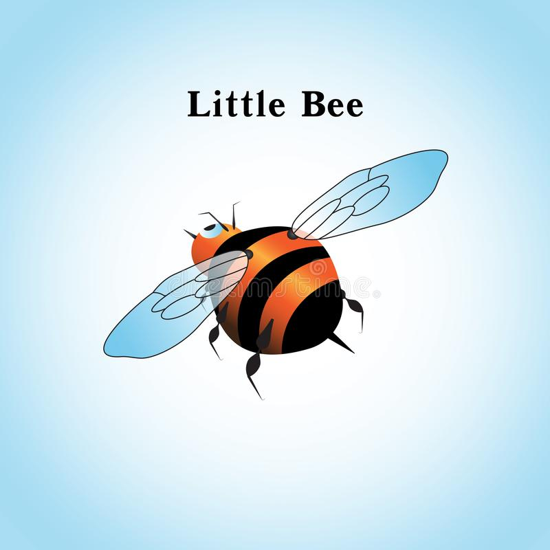 Vector illustration of a little bee flying in the sky royalty free illustration