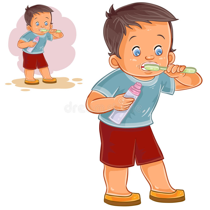 Vector illustration of a little boy brushing his teeth with toothpaste. stock illustration
