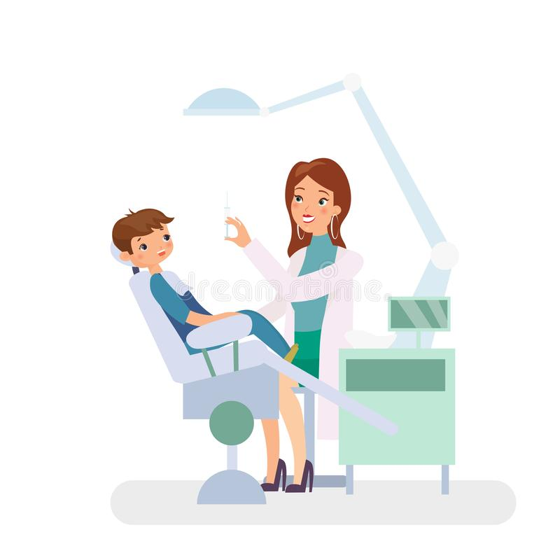 Vector illustration of little boy in dentist office. Medicine, dental concept. Pretty doctor woman and child patient in royalty free illustration