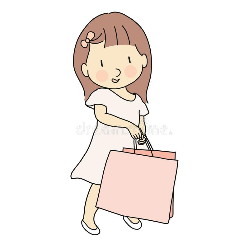 Vector illustration of little cute girl in pink dress carrying shopping bag. Lifestyles concept. Cartoon character drawing vector illustration