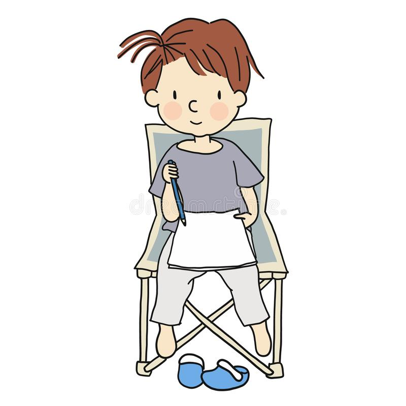 Vector illustration of little cute kid sitting on folding chair and drawing a picture with pencil royalty free illustration