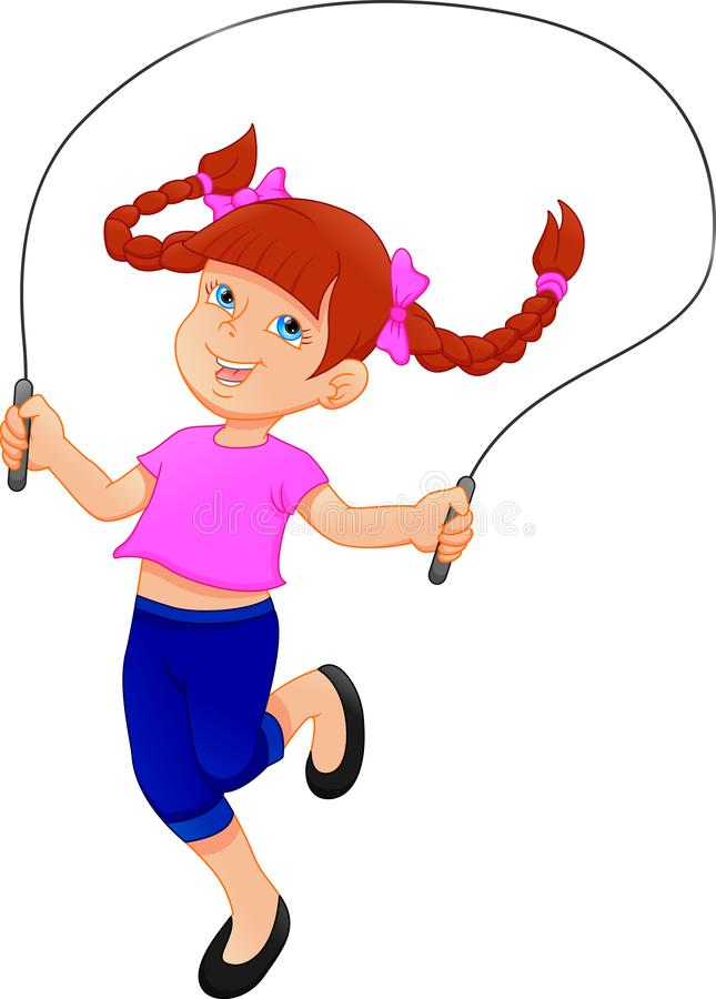 Little girl playing skipping rope royalty free illustration