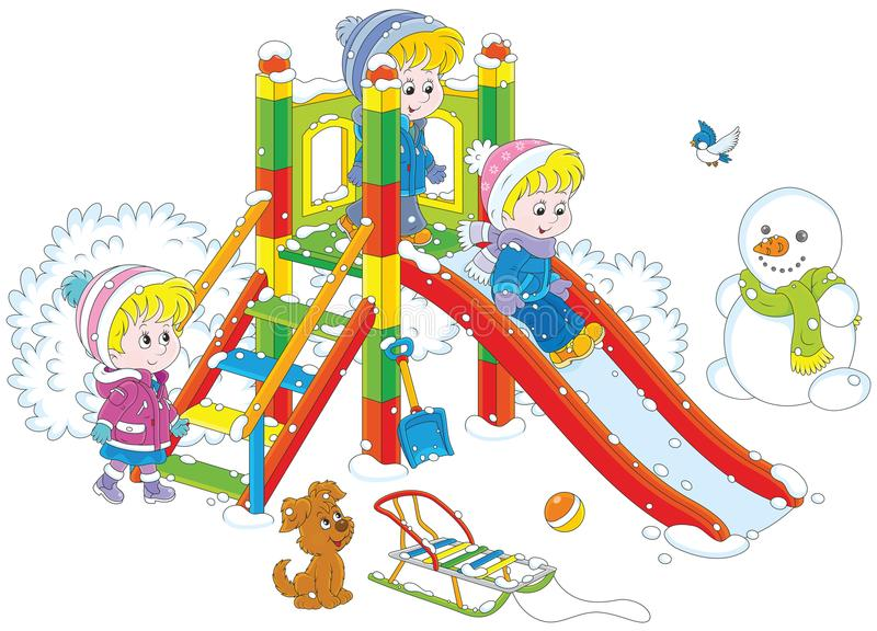 Children`s slide in a park. Vector illustration of little girls and boys playing on a slide at a playground in winter vector illustration