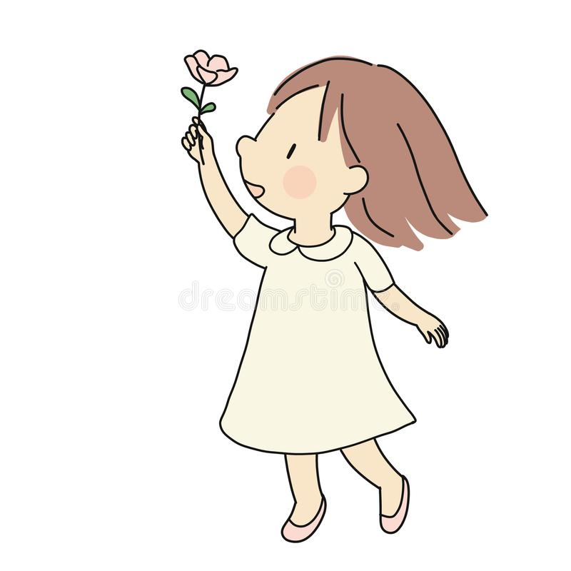 Vector illustration of little happy kid girl giving pink flower. Happiness, love, mother day and valentine day concept. Cartoon vector illustration